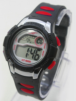 Black Red Rubber Band Pin Buckle Digital Watch