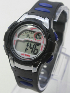 Black Blue Rubber Band Pin Buckle Digital Watch