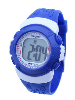 Blue White Rubber Band Pin Buckle Digital Watch