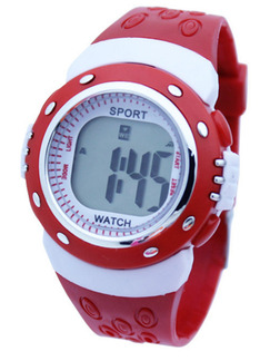Red and White Plastic Band Pin Buckle Digital Watch