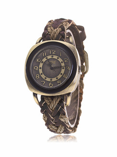 Brown Leather Band Bracelet Pin Buckle Quartz Watch