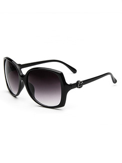 Black Solid Color Plastic Oversized Toad  Sunglasses