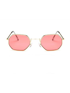 Rose Pink Solid Color Metal Square  Sunglasses