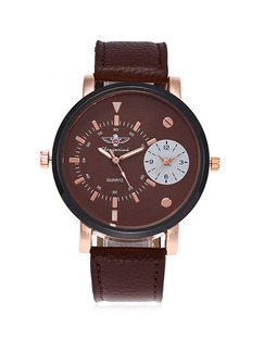 Brown Leather Band Belt Pin Buckle Electronic Watch