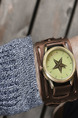 Brown Leather Band Bracelet Quartz Waterproof Watch