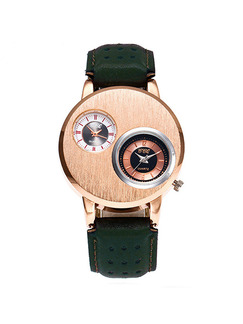 Green Leather Band Belt Pin Buckle Quartz Watch