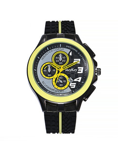 Black and Yellow Leather Band Pin Buckle Quartz Watch