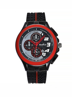 Black and Red Leather Band Pin Buckle Quartz Watch