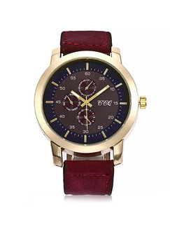 Red Canvas Band Belt Pin Buckle Quartz Watch