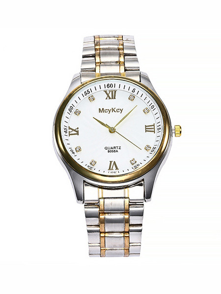 Silver and Gold Alloy Band Deployment Buckle Quartz Watch