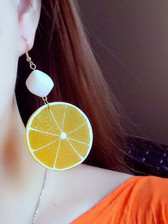 Alloy Stud Sweet Lemon Orange  Earring