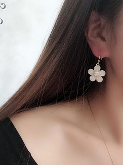 Alloy Stud Hook Flower Rhinestone Earring