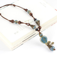 Ceramics and Alloy Ethnic  Necklace