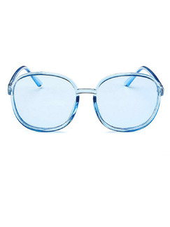 Blue Solid Color Plastic Oval  Sunglasses