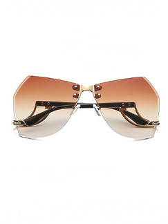 Brown Gradient Metal and Plastic Aviator Sunglasses