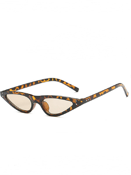 Brown Solid Color Plastic Leopard Cat Eye Sunglasses