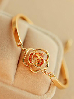 Alloy Gold Plated Flower Lobster Clasp  Bracelet