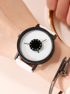 White Leather Band Belt Buckle Quartz Watch