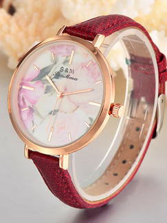 Red Leather Band Belt Buckle Quartz Watch