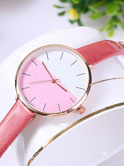 Pink Leather Band Pin Buckle Quartz Watch
