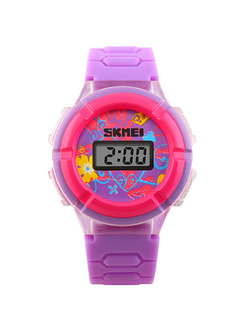 Violet Plastic Band Pin Buckle Digital Watch
