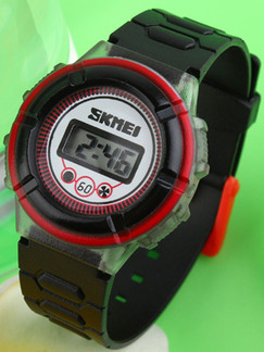 Black Plastic Band Pin Buckle Digital Luminous Watch