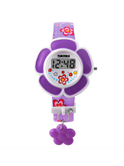 Violet Leather Band Pin Buckle Flower Shaped Digital Watch