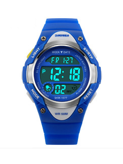 Blue Plastic Band Pin Buckle Digital Luminous Waterproof Alarm Clock Timing Calendar Watch