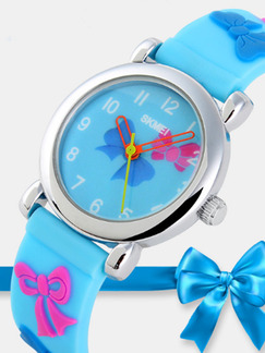 Sky Blue Silicone Band Pin Buckle Digital Waterproof Watch
