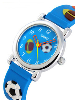 Blue Silicone Band Pin Buckle Digital Waterproof Watch