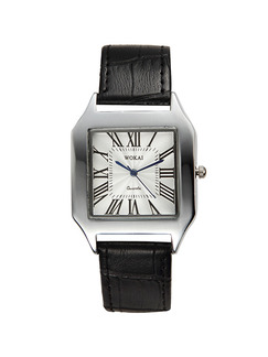Black Leather Band Pin Buckle Quartz Watch