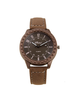 Brown Leather Band Belt Pin Buckle Digital Watch