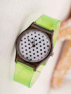 Green Plastic Band Pin Buckle Quartz Watch