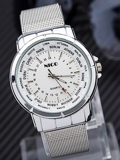 Silver Alloy Band Pin Buckle Quartz Watch