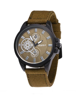 Brown Canvas Band Pin Buckle Quartz Watch