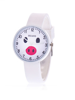 White Silicone Band Pin Buckle Quartz Watch