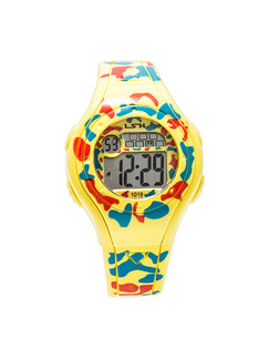 Yellow Red and Blue Plastic Band Pin Buckle Digital Luminous Waterproof Watch