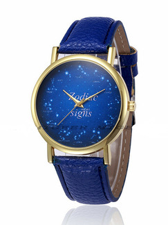 Blue Leather Band Belt Buckle Quartz Watch