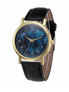 Black Leather Band Belt Pin Buckle Quartz Watch
