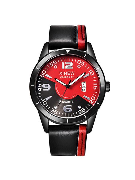 Black and Red Leather Band Belt Pin Buckle Quartz 24-hour Instruction Calendar Watch