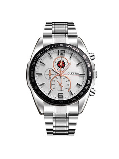 Silver Stainless Steel Band Deployment Buckle Quartz Life Waterproof Watch