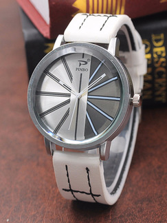 White Alloy Band Belt Pin Buckle Quartz Life Waterproof Watch