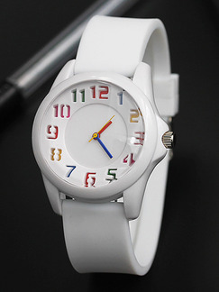 White Leather Band Pin Buckle Quartz Watch