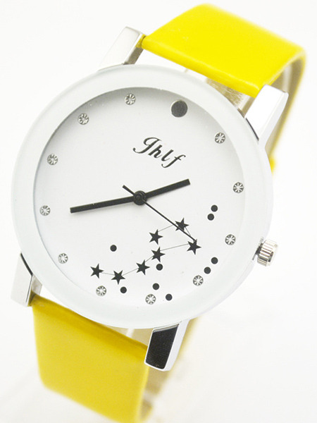 Yellow Leather Band Belt Pin Buckle Quartz Watch