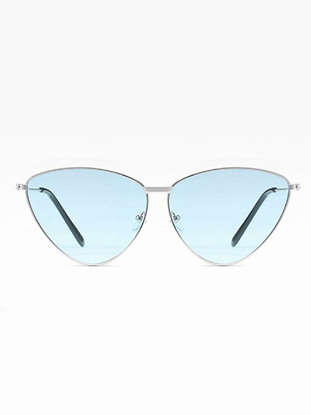 Sky Blue Solid Color Metal Triangle Sunglasses