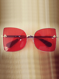 Red Solid Color Plastic Square Oversized Sunglasses