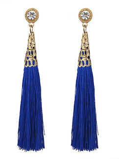 Alloy and Cotton Tassel Rhinestone Stud Earring