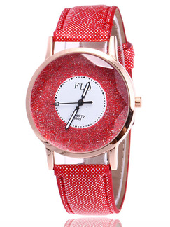 Red Leather Band Pin Buckle Quartz Watch