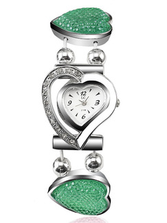 Silver Alloy Band Rhinestone Heart Bracelet Quartz Watch