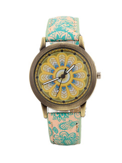 Beige and Blue Green Leather Band Belt Pin Buckle Quartz Watch